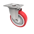 160mm Red Polyurethane Swivel Castor White Nylon Centre