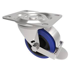 75mm Blue Elastic Rubber Braked Castor Nylon Centre