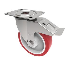 80mm Red Polyurethane Braked Castor White Nylon Centre