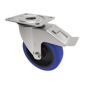100mm Blue Elastic Rubber Braked Castor Nylon Centre