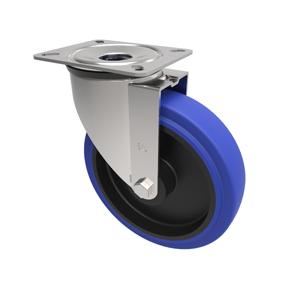 100mm Blue Elastic Rubber Swivel Castor Nylon Centre