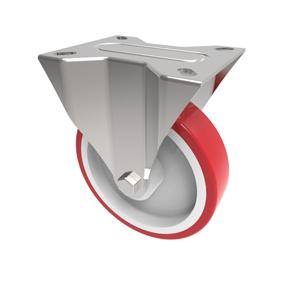 200mm Red Polyurethane Fixed Castor White Nylon Centre