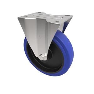 80mm Blue Elastic Rubber Fixed Castor Nylon Centre