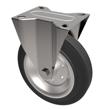 80mm Black Rubber Fixed Castor Steel Centre